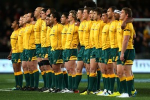 AUCKLAND, NEW ZEALAND - AUGUST 25:  The Wallabies sing the national anthem before The Rugby Championship Bledisloe Cup match between the New Zealand All Blacks and the Australian Wallabies at Eden Park on August 25, 2012 in Auckland, New Zealand.  (Photo by Simon Watts/Getty Images)